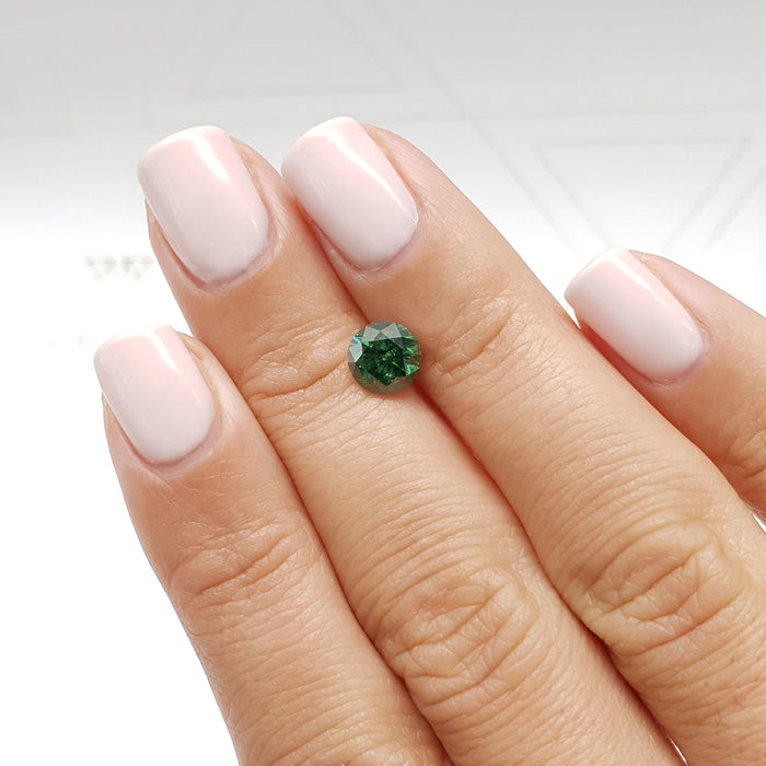 1.28 Carat Round Fancy Deep Green SI1 Certified Loose Diamond