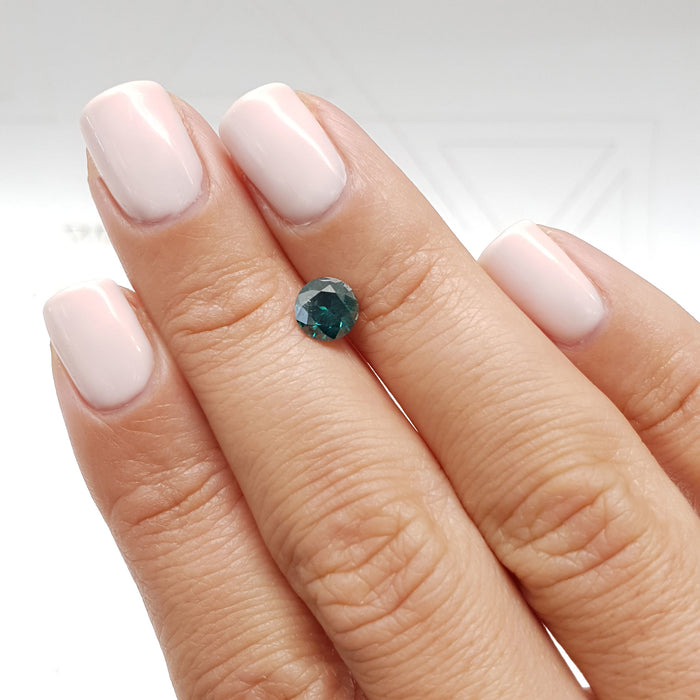 0.93 Carat Round Fancy Blueish Green SI2 Certified Loose Diamond