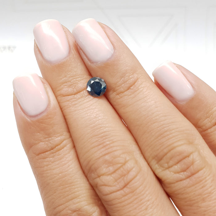 0.93 Carat Round Fancy Deep Blue I1 Certified Loose Diamond
