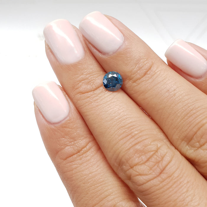 0.95 Carat Round Fancy Deep Blue I1 Certified Loose Diamond