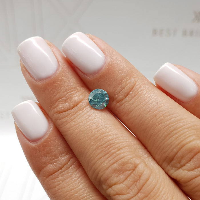 1.01 Carat Round Fancy Blueish Green SI2 Certified Loose Diamond