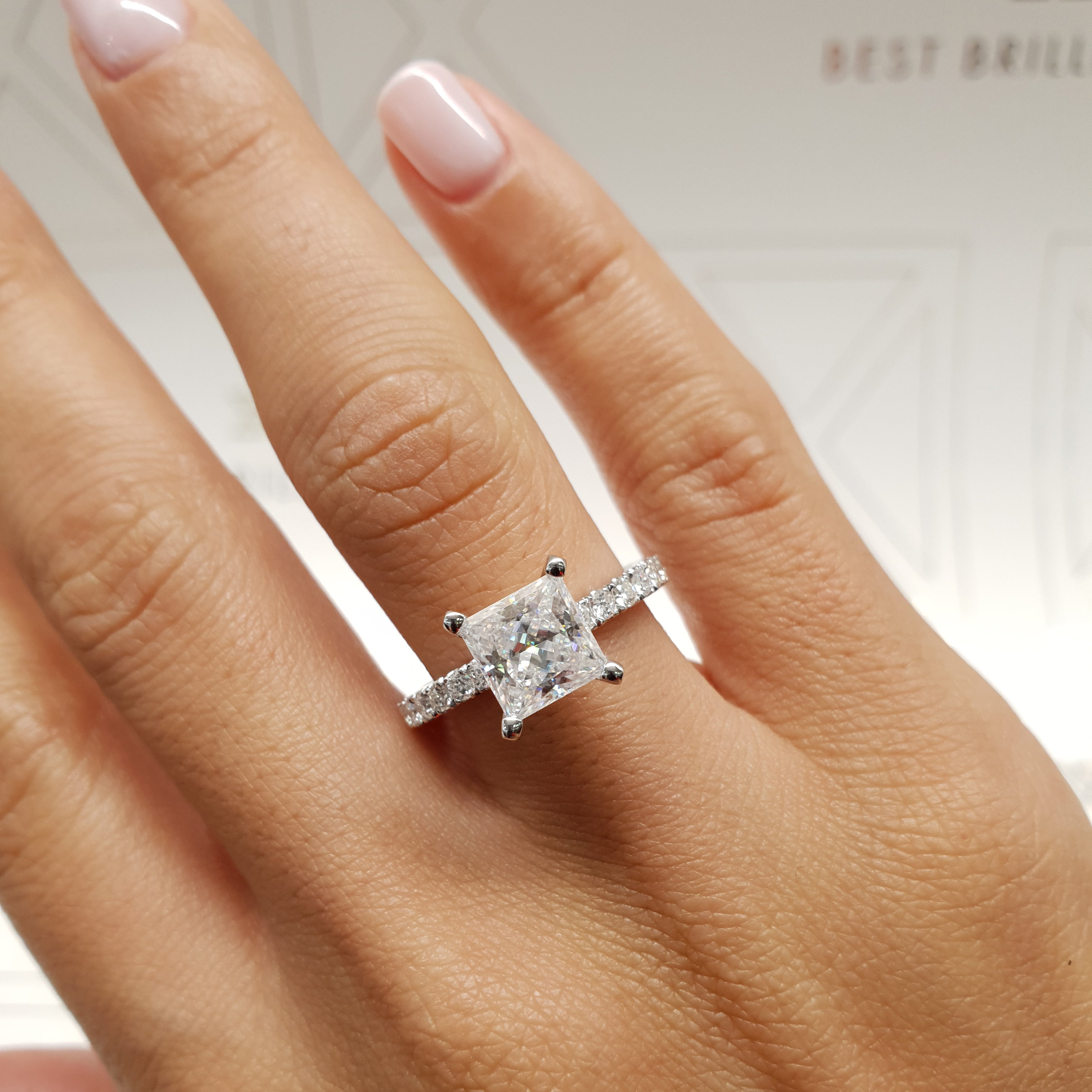 The Blair Lab Grown Ring - 2 CARAT PRINCESS E COLOR VS1 CLARITY 14K WHITE GOLD DIAMOND ENGAGEMENT RING #LG10011