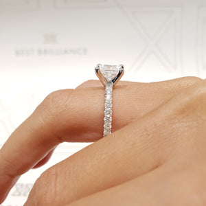 2 CARAT LAB GROWN PRINCESS E COLOR VS1 CLARITY 14K WHITE GOLD DIAMOND ENGAGEMENT RING #LG10011