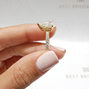 The Hailey Engagement Ring - 2 CARAT DIAMOND PAVE RING PEAR SHAPED G VS2 - 14K YELLOW GOLD #J99222