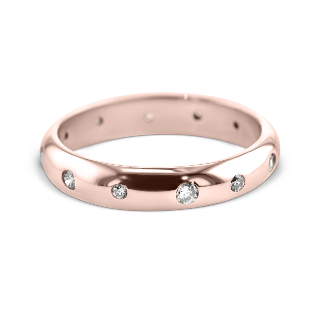 0.18 Carat Diamond Wedding Band - 14K Rose Gold Unique Setting #708W_RDR
