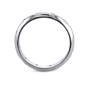 0.18 Carat Diamond Wedding Band - 18K White Gold Unique Setting #708W_RD2