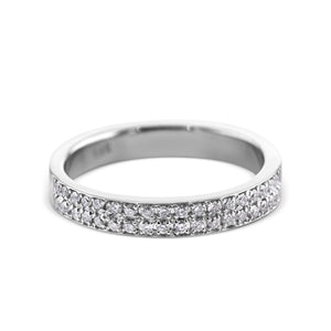 0.2 Carat Diamond Wedding Band - 18K White Gold Channel Setting #717W_RD2