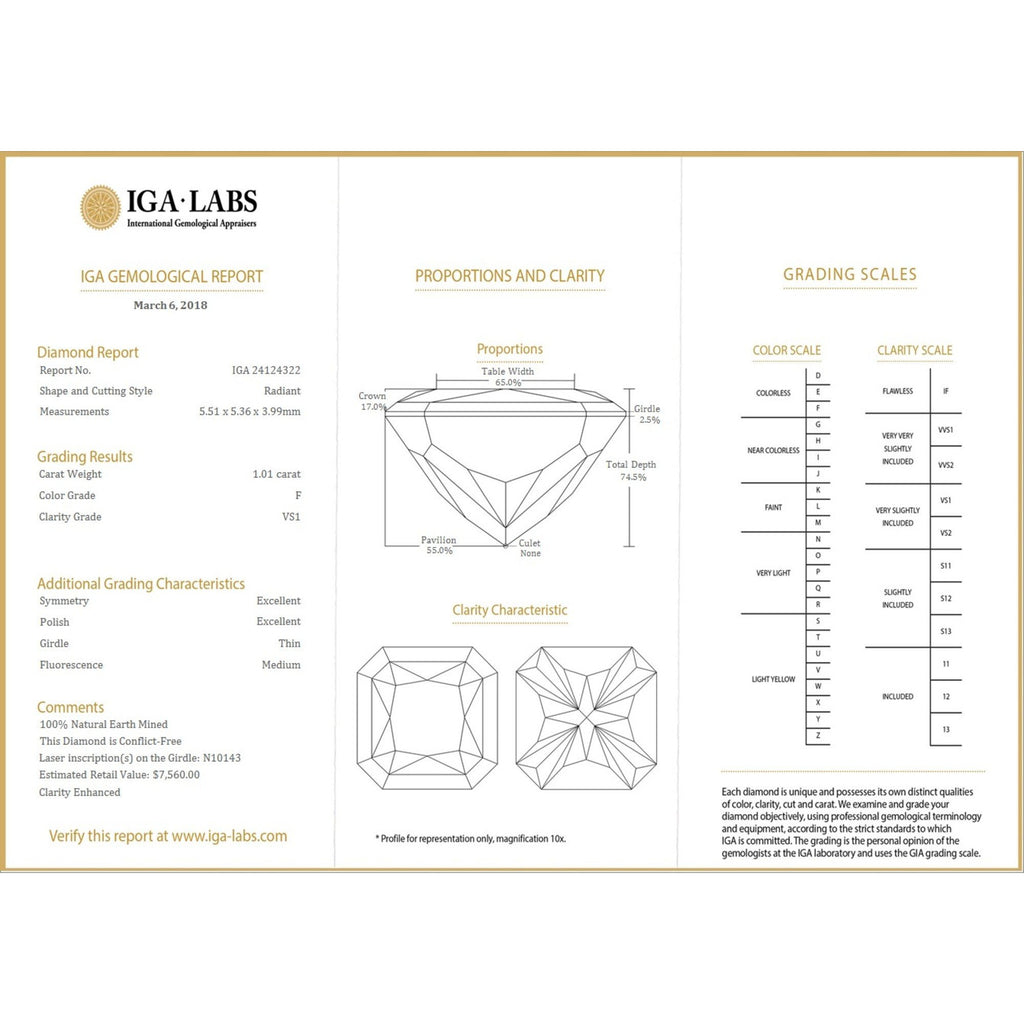 1.01 Carat Radiant F VS1 Certified Loose Diamond