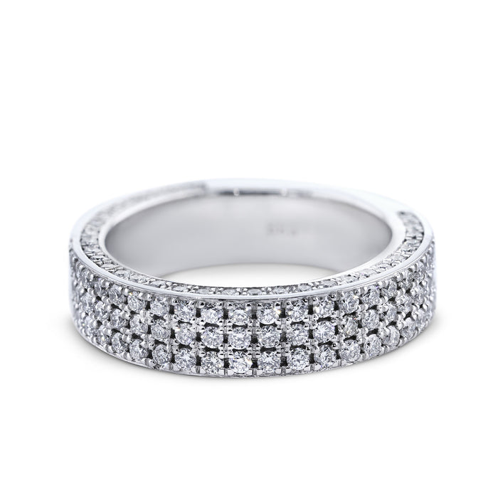 1.3 Carat Diamond Wedding Band - 18K White Gold Setting #752W_RD2