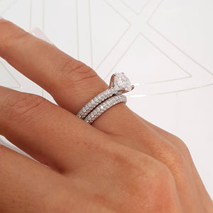 The Charlotte Bridal Set - 4 CARAT SET OF ENGAGEMENT RING & MATCHING WEDDING BAND - WHITE GOLD #J99948