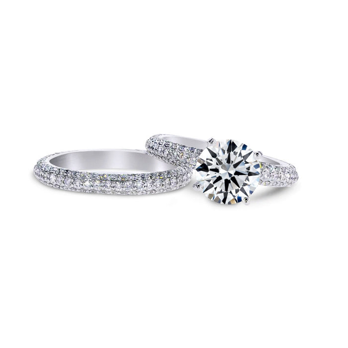 4 CARAT SET OF ENGAGEMENT RING & MATCHING WEDDING BAND - 18K WHITE GOLD #J99948