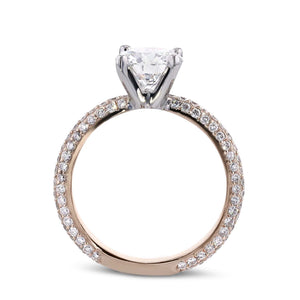 The Charlotte Engagement Set - 2.5 CARAT ROUND Two Tones Diamond RING - 18K ROSE & White Gold #J99961