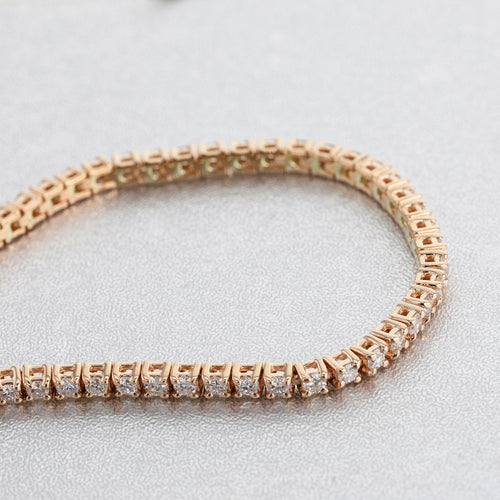 2.5 CARAT E-F VS NATURAL DIAMONDS CLASSIC TENNIS BRACELET - ROSE GOLD #J99193