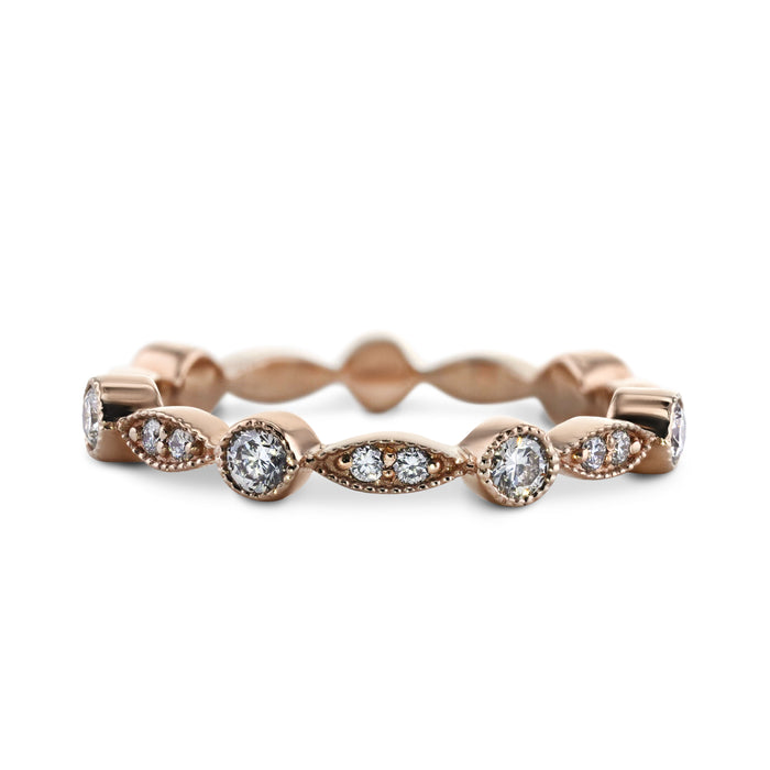 0.5 Carat Diamond Wedding Band - 14K Rose Gold Unique Setting #844W_RDR