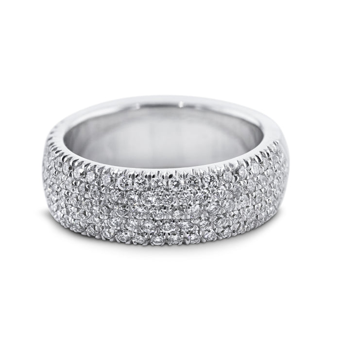 1.2 Carat Diamond Wedding Band - 18K White Gold 5 Rows Setting #853W_RD2