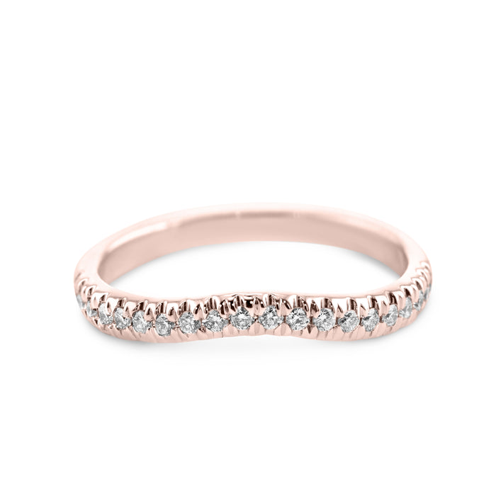 0.2 Carat Diamond Wedding Band - 18K Rose Gold Curved Setting #855W_RDR2