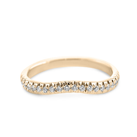 0.2 Carat Diamond Wedding Band - 18K Yellow Gold Curved Setting #855W_RDY2
