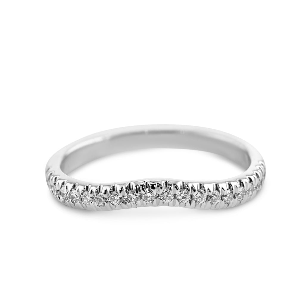 0.2 Carat Diamond Wedding Band - Platinum Curved Setting #855W_RD3