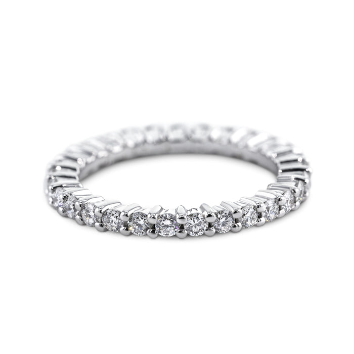 0.87 Carat Diamond Wedding Band - 18K White Gold Eternity Setting #866W_RD2