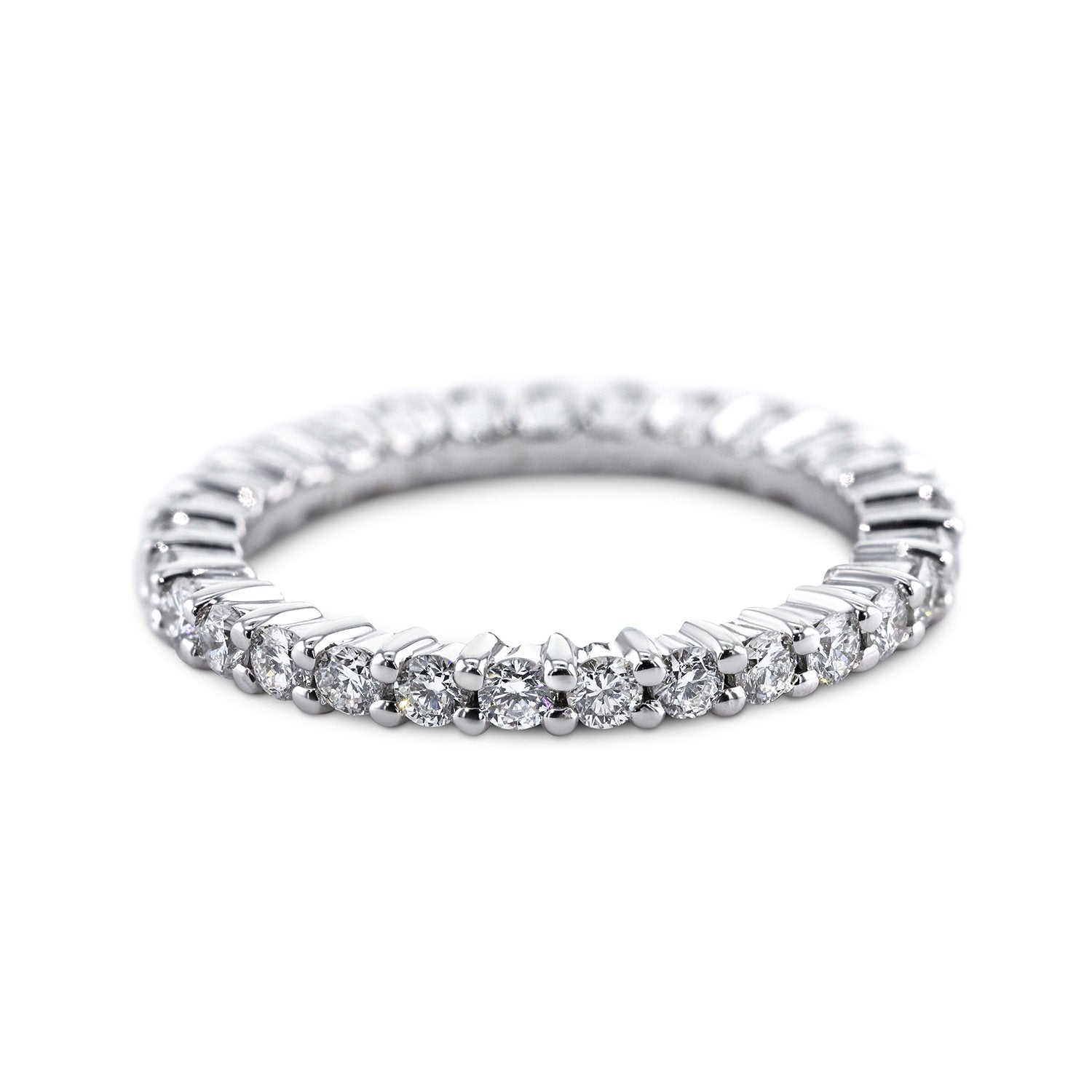 1 Carat Diamond Eternity Wedding Band - 14K White Gold