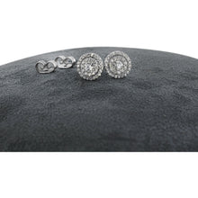 Load image into Gallery viewer, DOUBLE HALO DIAMOND EARRINGS 14K WHITE GOLD - 1.2 CARAT F-G SI QUALITY #J99992 - Best Brilliance