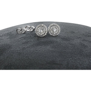 DOUBLE HALO DIAMOND EARRINGS 14K WHITE GOLD - 1.2 CARAT F-G SI QUALITY #J99992 - Best Brilliance