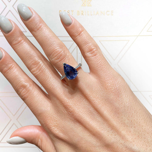 14K White Gold Gemstone Engagement ring - 4.39 Carat Violet Tanzanite Pear Shaped #BBG10010