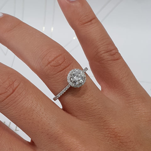 14K WHITE GOLD HALO LAB GROWN DIAMOND ENGAGEMENT RING STYLE - 1.25 CARAT G SI1 ROUND CUT #LG10018