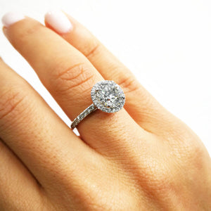 The Layla Engagement Ring - 2.5 CARAT CLASSIC HALO DIAMOND RING - 14K/18K/PLATINUM #J99980