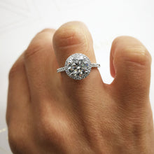 Load image into Gallery viewer, The Layla Engagement Ring - 2.5 CARAT CLASSIC HALO DIAMOND RING - 14K/18K/PLATINUM #J99980