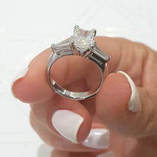 Load image into Gallery viewer, The Skylar Engagement Ring - 1.8 CARAT G VS2 RADIANT SHAPED DIAMOND - 3 STONES RING #J99943