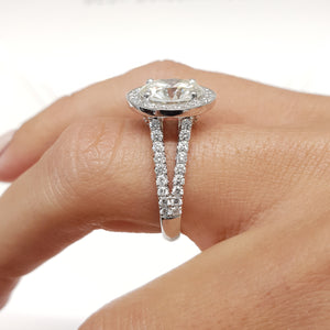 The Camilla Engagement Ring - 2.75 CARAT ROUND BRILLIANT CUT HALO Diamond RING - 14K WHITE GOLD #J99221