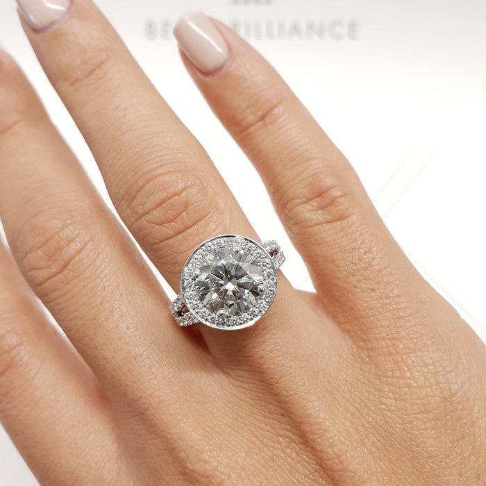 2 CARAT ROUND BRILLIANT CUT SPECIAL HALO DIAMOND RING - 14K WHITE GOLD UNIQUE STYLE #J99221