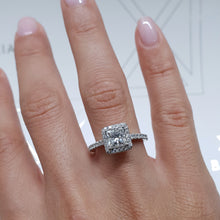 Load image into Gallery viewer, The Selena Lab Grown Ring - 1.5 CT PRINCESS SHAPE G VVS2 HALO DIAMOND ENGAGEMENT RING #LG10012