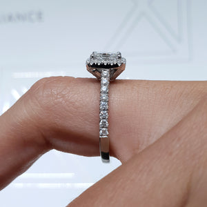 The Selena Lab Grown Ring - 1.5 CT PRINCESS SHAPE G VVS2 HALO DIAMOND ENGAGEMENT RING #LG10012