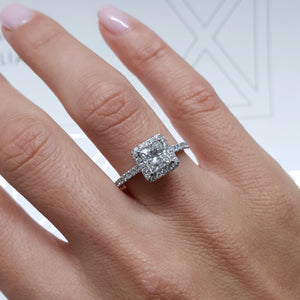 The Selena Engagement Ring - 1.5 CT PRINCESS SHAPE D VS2 HALO DIAMOND RING #J99234