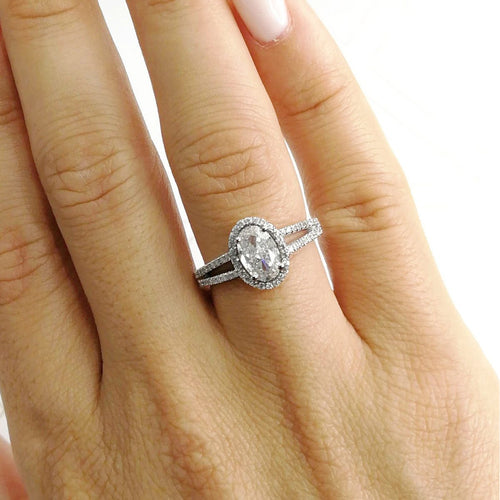 The Brielle Engagement Ring - 1.2 CARAT OVAL H SI1 HALO GIA DIAMOND SPLIT SHANK RING - 14K WHITE GOLD #J99156