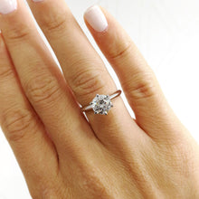 Load image into Gallery viewer, The Alexis Engagement Ring - 1.5 CARAT ROUND F VS2 DIAMOND RING - 18K WHITE GOLD #J99147
