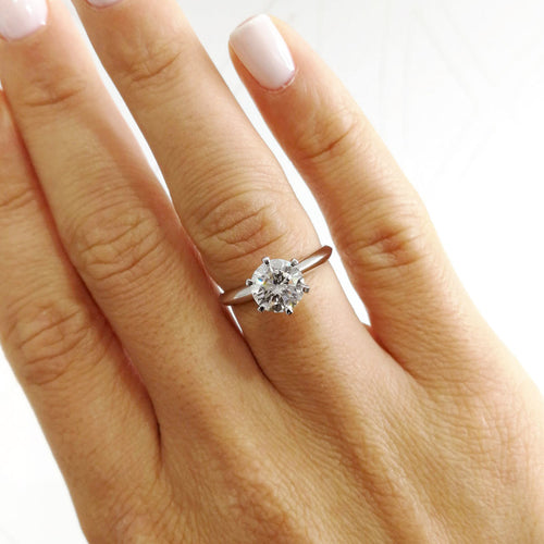 The Alexis Engagement Ring - 1.5 CARAT ROUND F VS2 DIAMOND RING - 18K WHITE GOLD #J99147