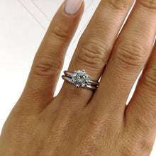 Load image into Gallery viewer, 1.5 CARAT ROUND F VS2 DIAMOND ENGAGEMENT RING & WEDDING BAND - 18K WHITE GOLD #J99125