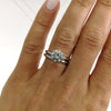 1.5 CARAT ROUND F VS2 DIAMOND ENGAGEMENT RING & WEDDING BAND - 18K WHITE GOLD #J99125