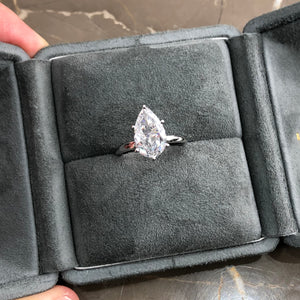 3 Carat Pear Shaped G VS1 Lab Grown Diamond Engagement Ring - 14K White Gold #LG10005