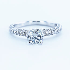 18K WHITE GOLD BEAUTIFUL PAVE STYLE LAB GROWN DIAMOND ENGAGEMENT RING #LG10020