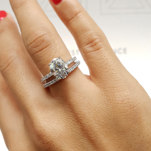 Lucy Moissanite & Diamonds Bridal Set - 2.8 CARAT