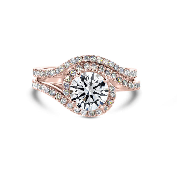 2 CARAT MOISSANITE F VVS2 TWISTED DESIGN ENGAGEMENT & WEDDING RINGS SET - 14K ROSE GOLD #M10006