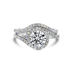 1.7 CARAT F VS TWISTED DESIGN ENGAGEMENT & WEDDING RINGS SET - 14K WHITE GOLD #J99957
