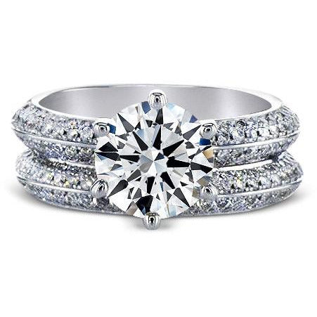 3 CARAT KNIFE EDGE DIAMOND ENGAGEMENT & WEDDING RINGS SET - 18K WHITE GOLD #J99951