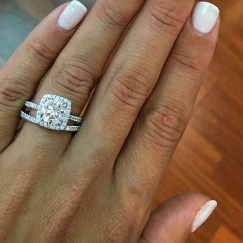 The Catalina Bridal Set - HALO & HIDDEN HALO ENGAGEMENT & WEDDING - 3 CARAT DIAMONDS #J99958