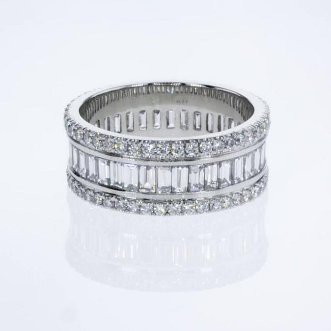 Platinum Baguette & Round Diamonds Shape - Top Design 4 Carat Ring  #J99227