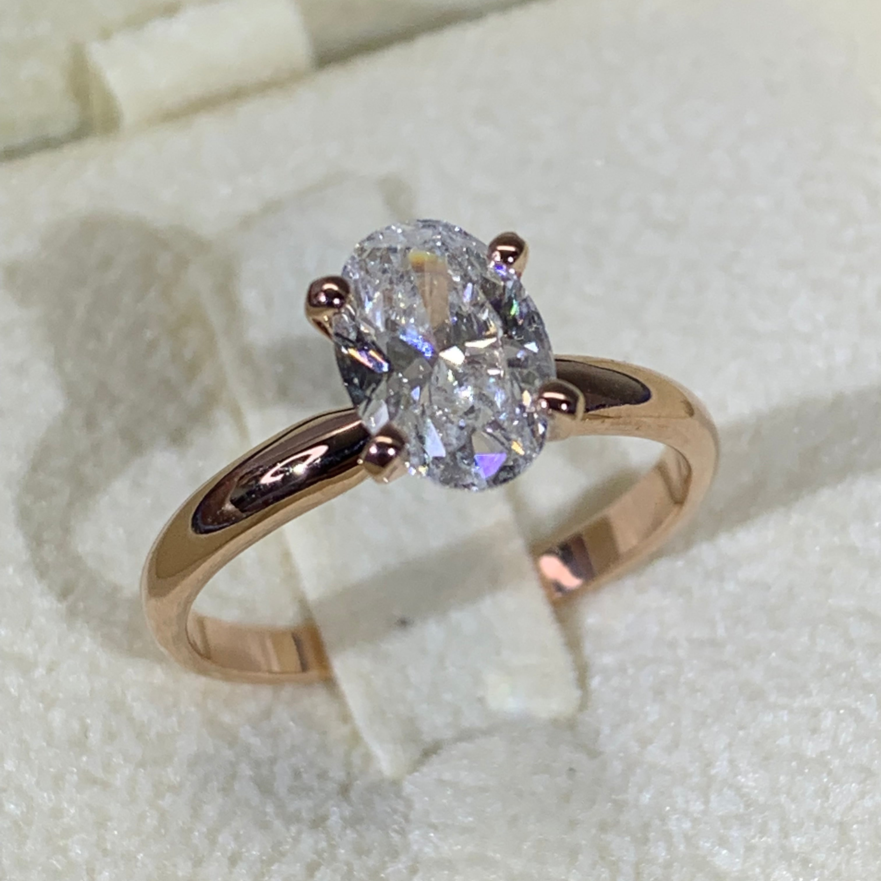 2.15 Carat Oval Shape Moissanite DVVS1- 14K Rose Gold Classic Solitaire Engagement Ring #M10041